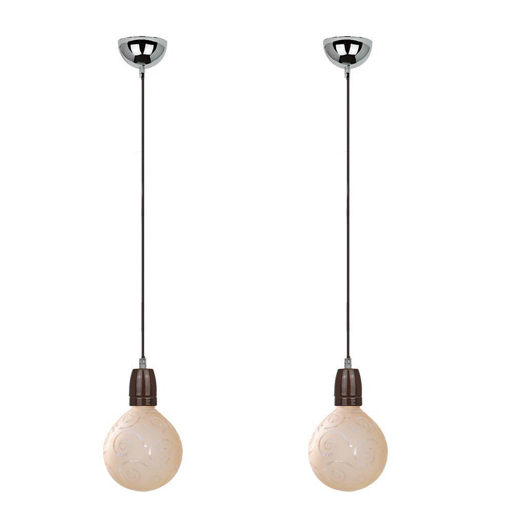 kit 2 pendentes soquete cafe com globo de vidro decorado