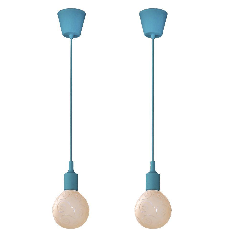 kit 2 pendentes turquesa soquete com globo ambar para sala