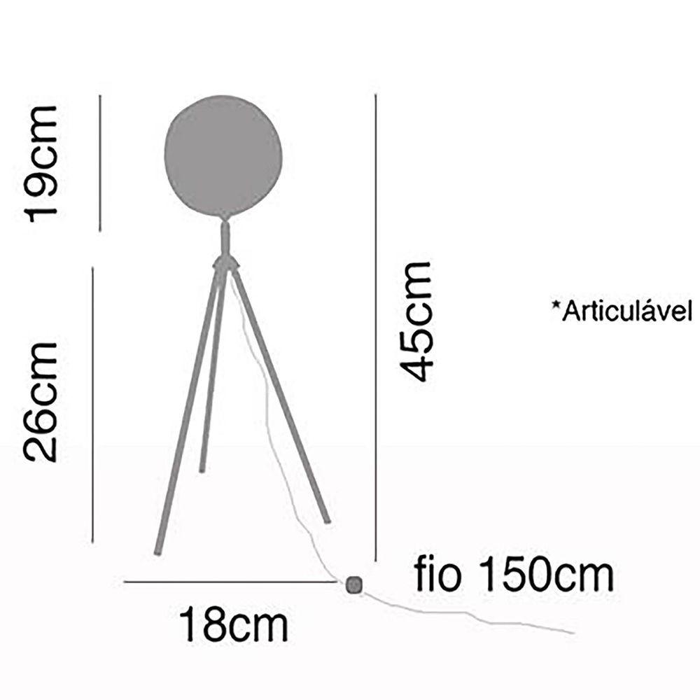 Luminária de mesa, abajur, Lamp Show, 45X18cm, metal Branco