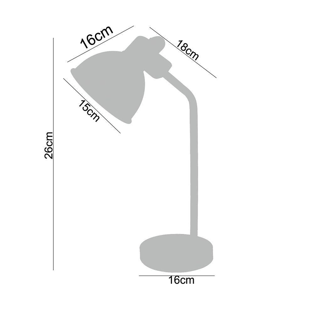 Luminária de Mesa abajur leitura 26cm metal preto