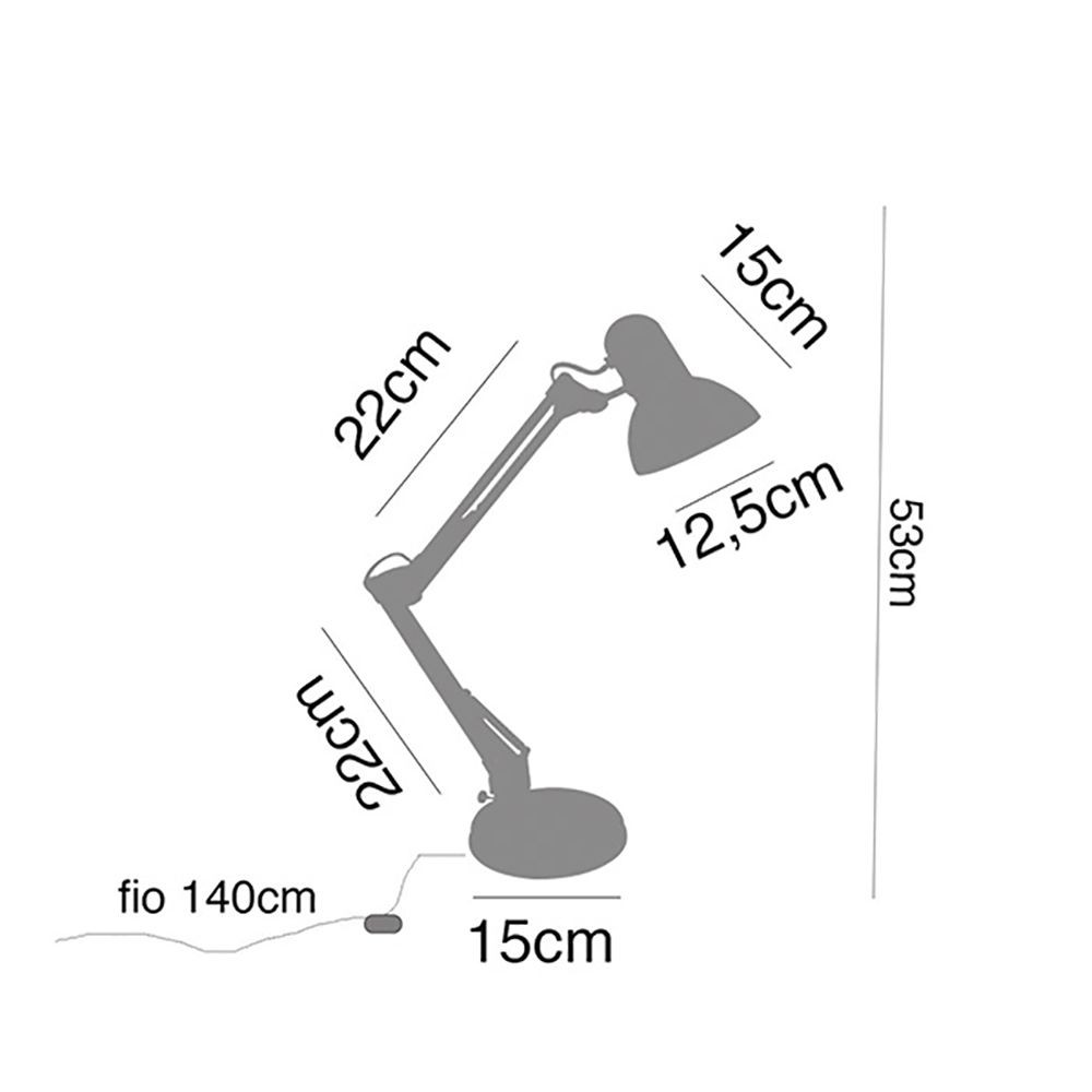Luminária de Mesa Lizi metal preta, 46x15x15