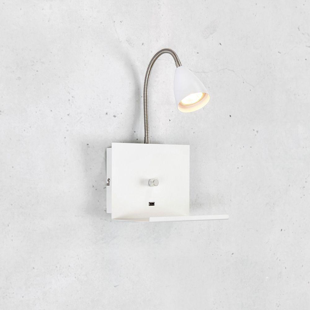 Luminária de parede para quarto com USB e dimmer cor Branca