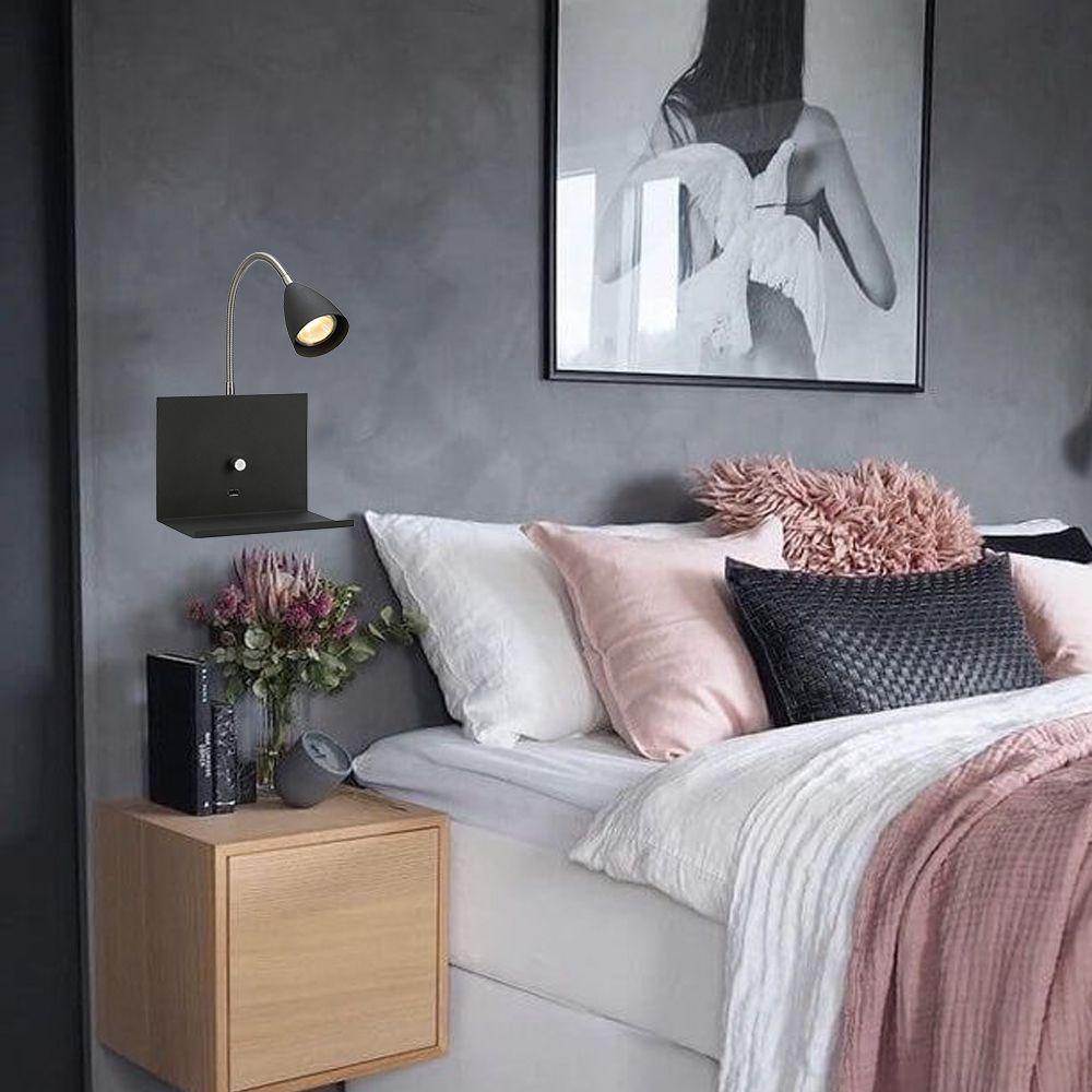 Luminária de parede para quarto com USB e dimmer cor Preta