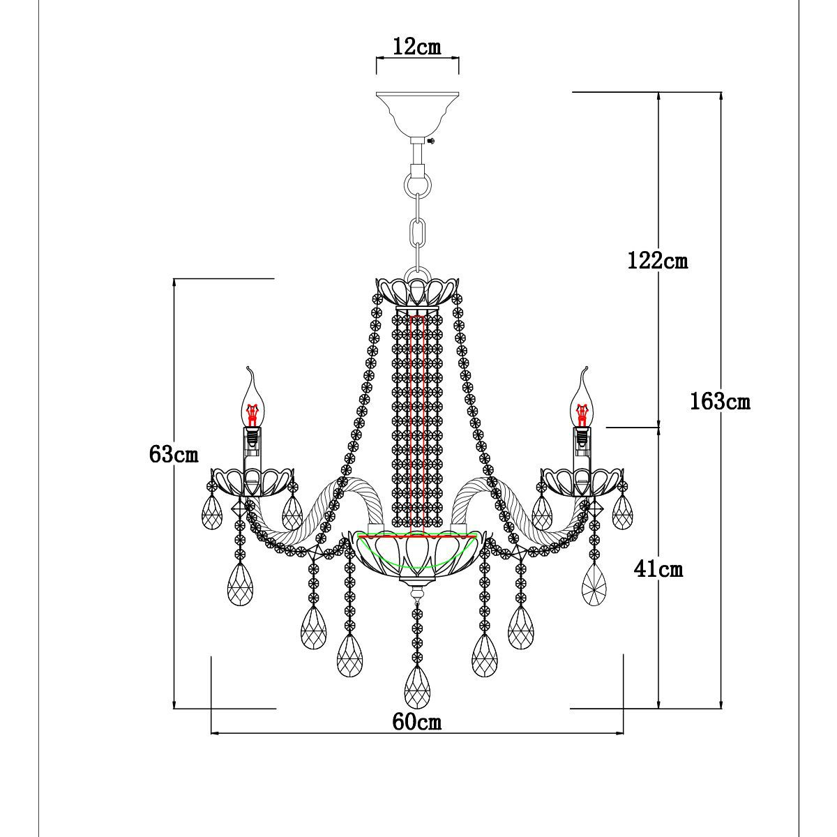 Lustre Luxy Pendente 6 braços 163x60x60 cristal legitimo
