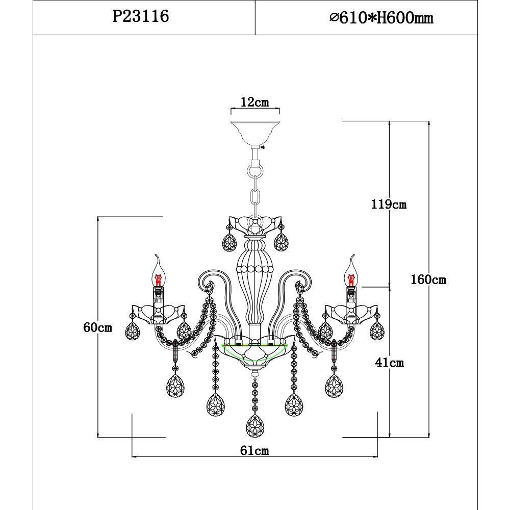 Lustre Candelabro 6 braços 160x61x61 cristal Legitimo K9