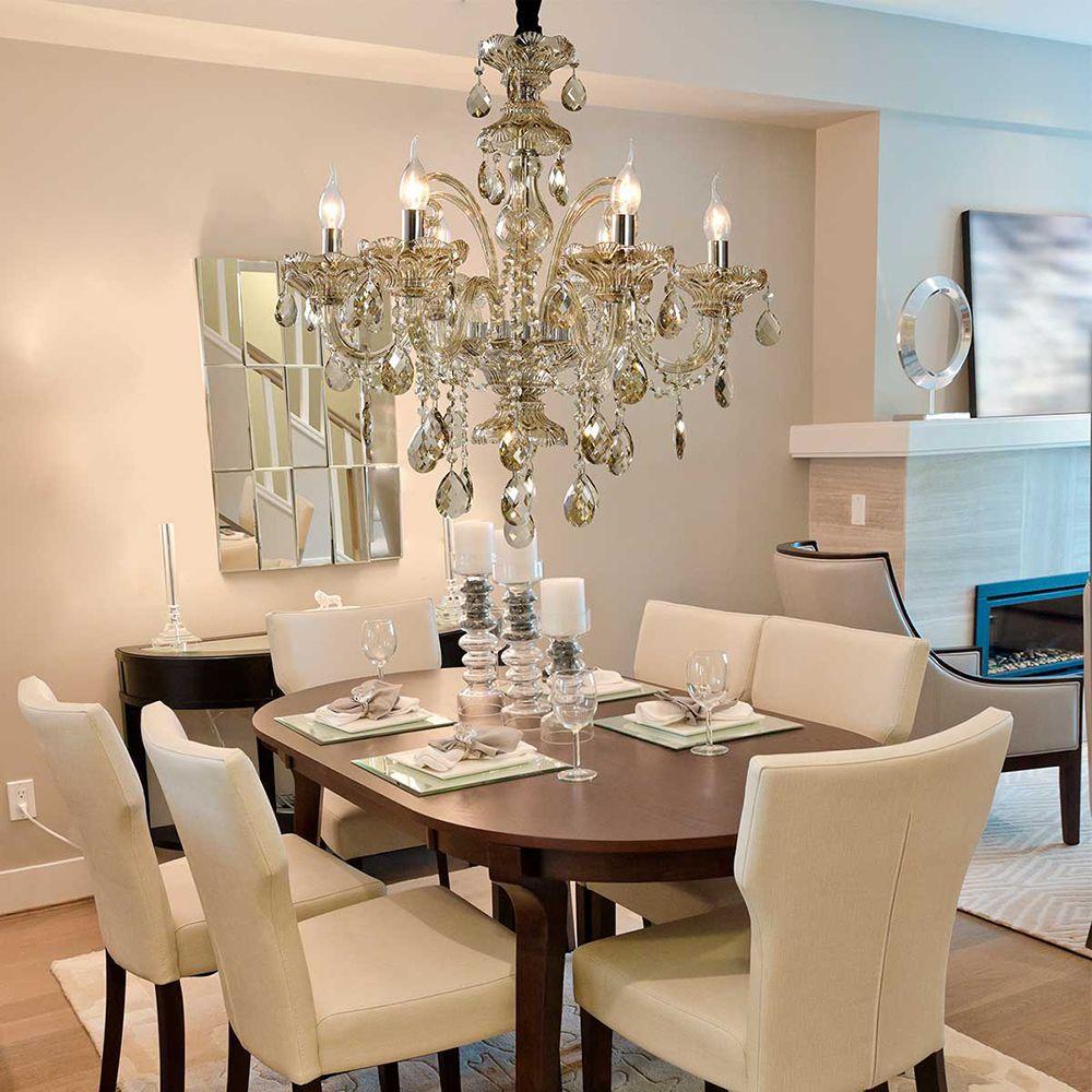 Lustre para sala de jantar cristal legitimo K9 champagne