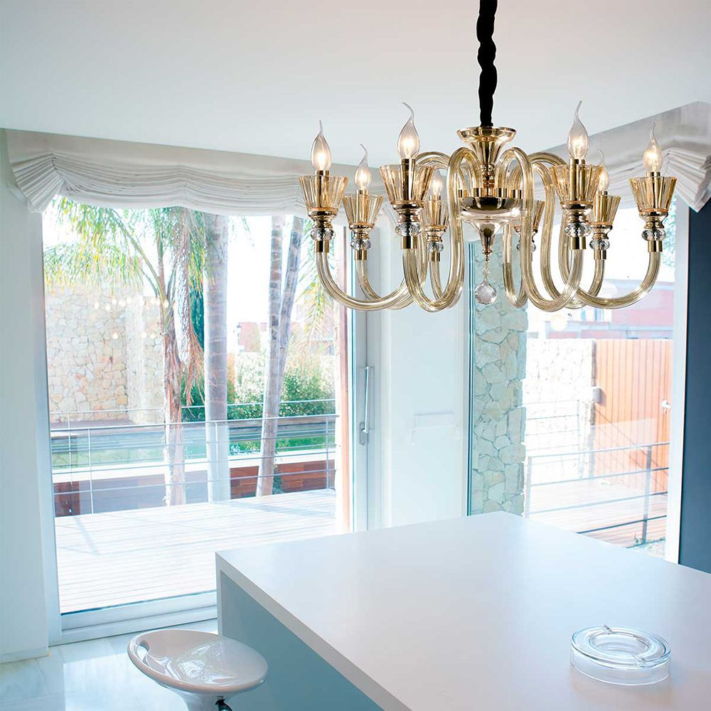 Lustre Pendente para sala 138x68x68 vidro e cristal ambar