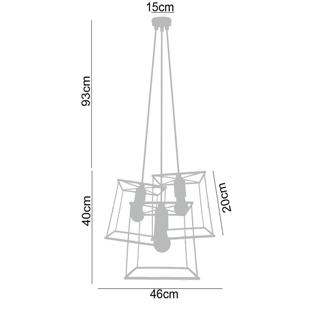 Pendente Catânia em metal preto e bocal rústico na cor cobre 133x46x46