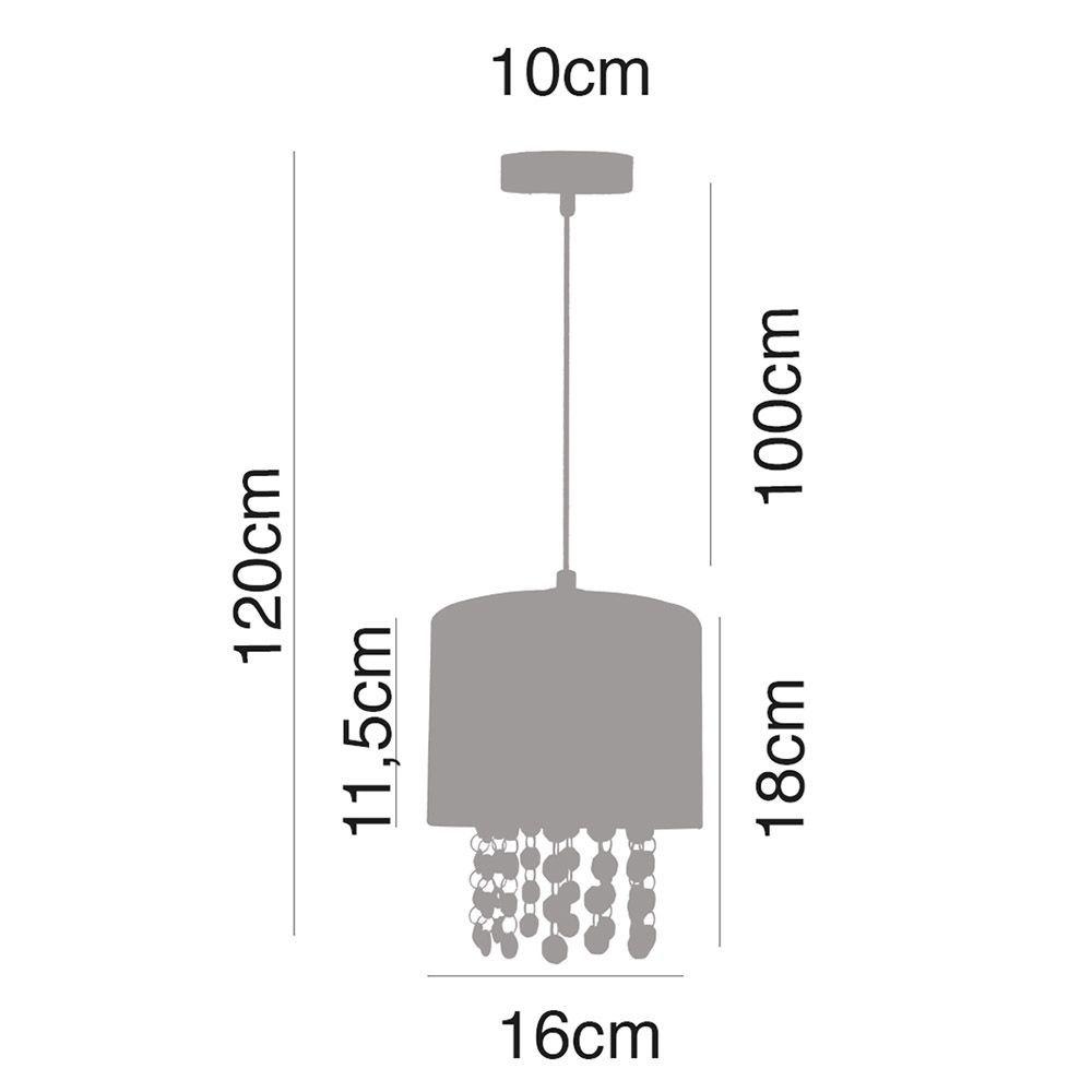 Pendente lustre 120x16x16 metal e tecido branco
