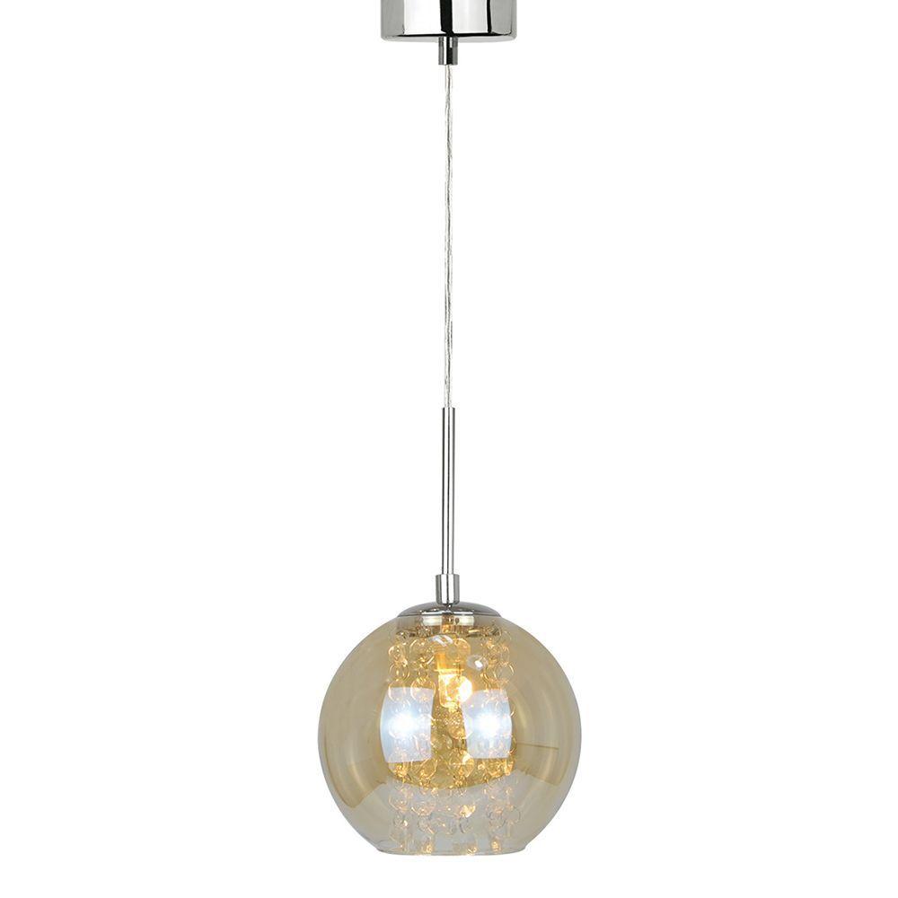 Pendente lustre charme pequeno 165x15x15 vidro ambar e cristais