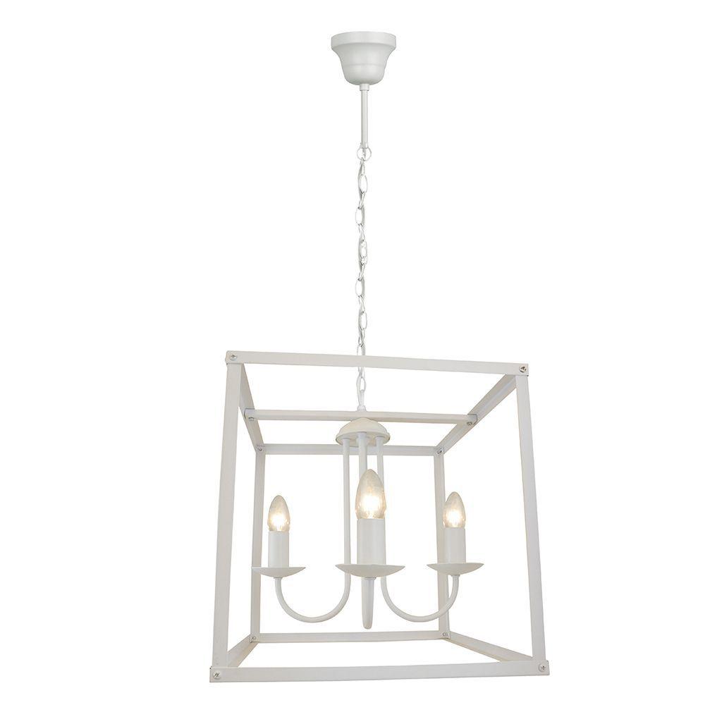 Pendente lustre industrial para mesa 100x36x36 metal branco