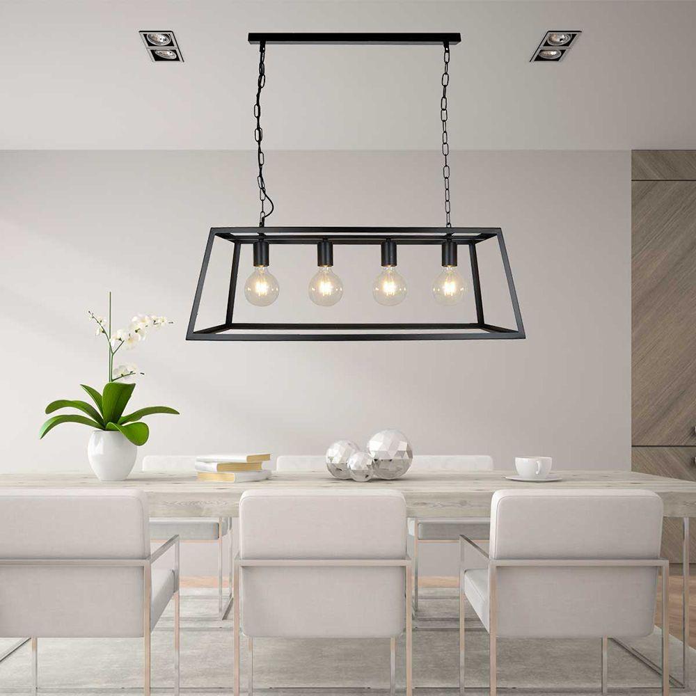Pendente lustre industrial para mesa 115x78X78 metal preta