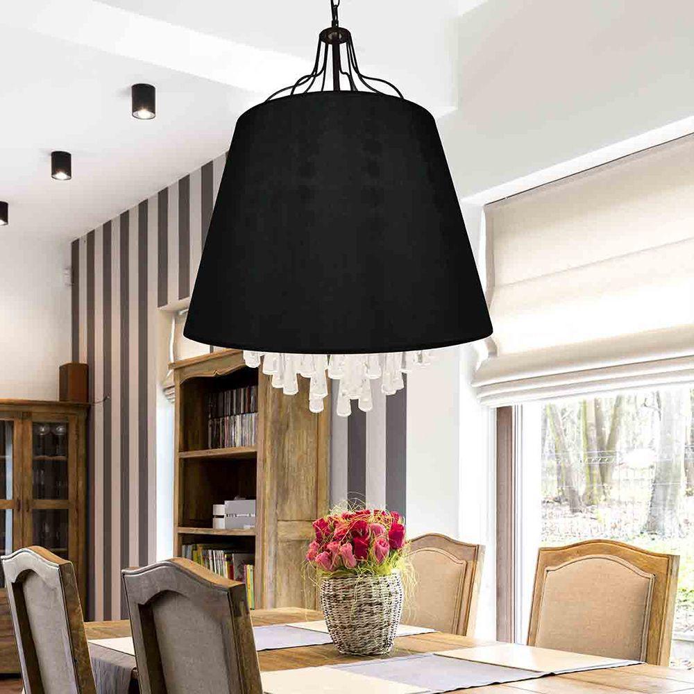 Pendente lustre para mesa 125x30x30 tecido e vidro preto