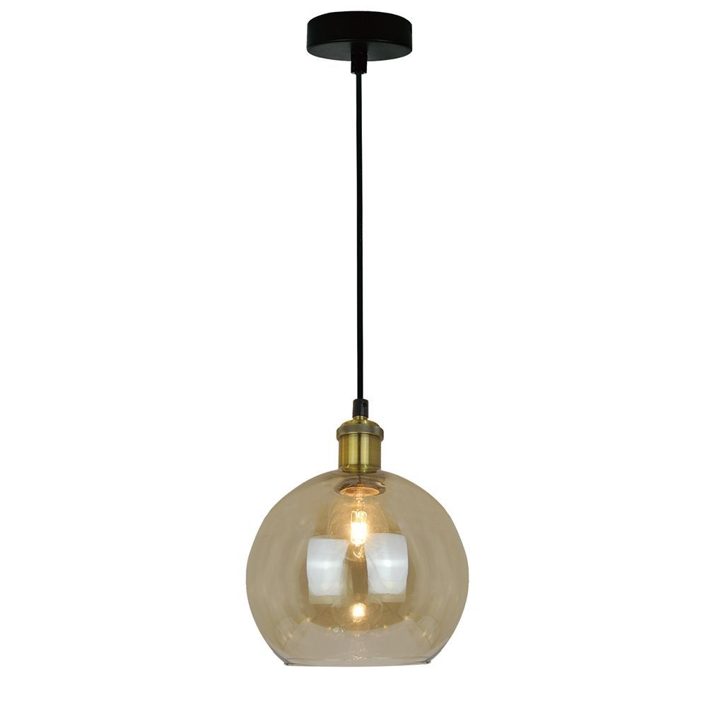 Pendente lustre retro 118x20x20 metal e vidro ambar