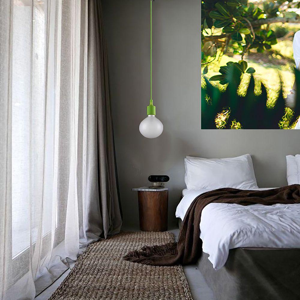 Pendente soquete retro para bancada 219cm tecido cor verde