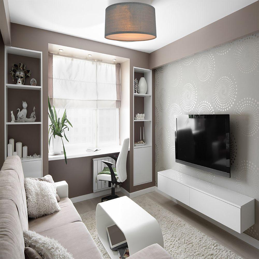 Plafon para quarto, 40x10cm metal e tecido cor cinza
