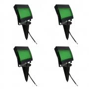 Kit 4 Pçs Refletor LED Verde Estaca p/ Jardim 7,5 W Ecoforce