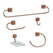 Kit Acessórios Class Rose Gold Quadrado 5 Peças Steel Design