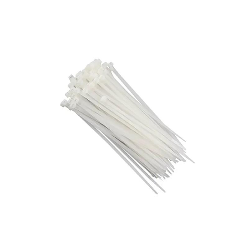 Abraçadeiras de Nylon 2,5X200MM Branco/Preto 100 Pçs MAK LED