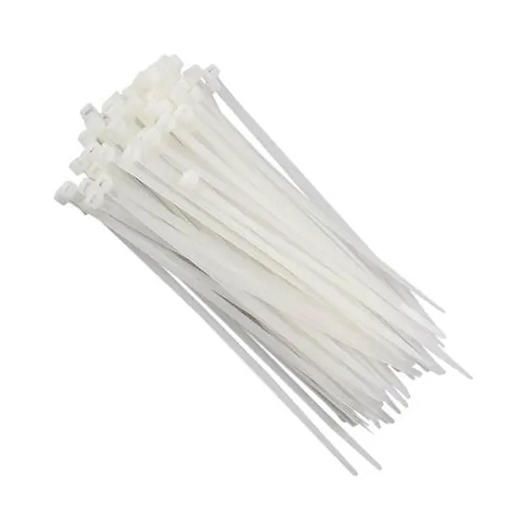 Abraçadeiras de Nylon 4,5X200MM Branco/Preto 100 Pçs MAK LED