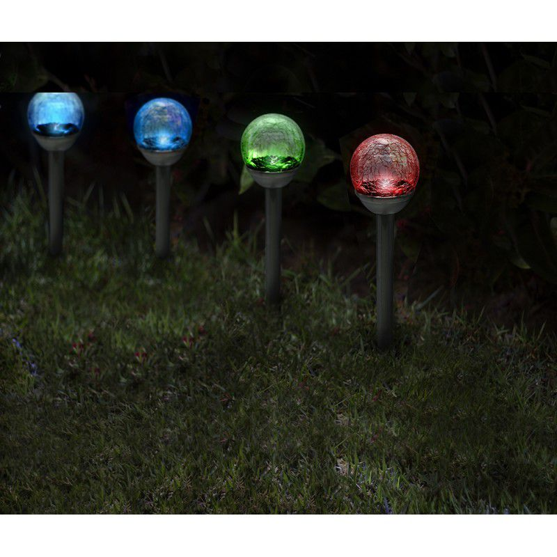 Balizador Solar Globo Multicor Inox Ecoforce