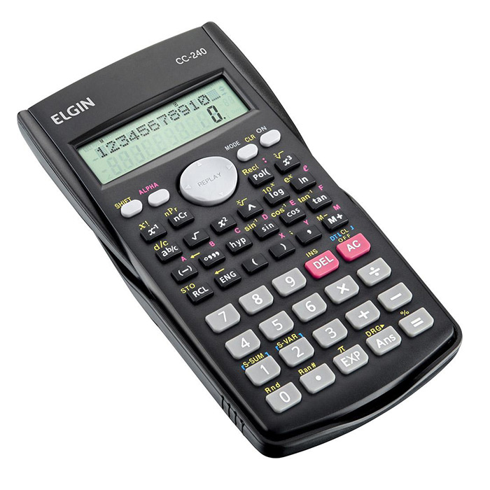 Calculadora Científica Preta CC240 Funções 12 Dígitos Elgin