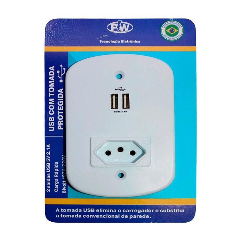 Carregador Rápido 2 USB + Tomada 4X2 Com Proteção 411 PW