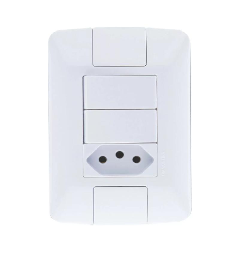 Conjunto 2 Interruptores 6A + 1Tomada 10A 57241073-Tramontina