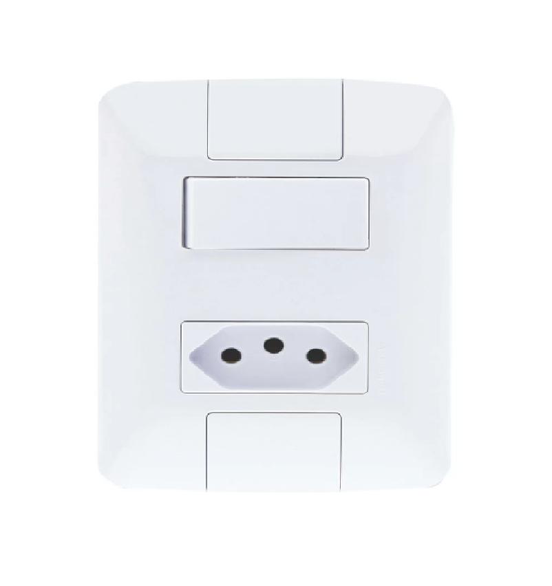 Conjunto 4x2 c/ Interruptor e Tomada 2P+T 10A Aria-Tramontina