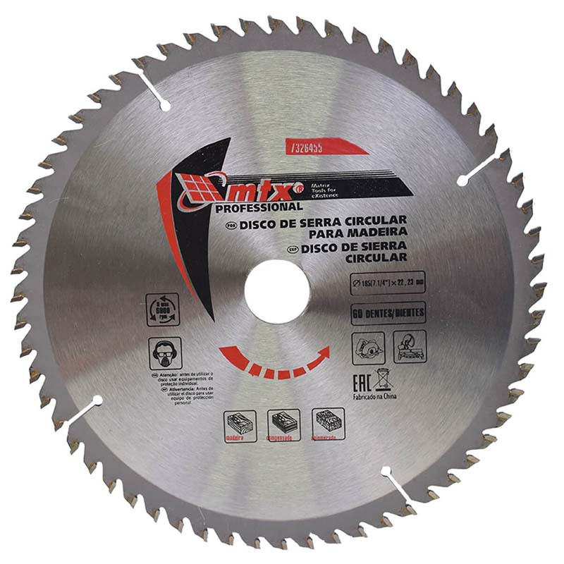 Disco de Serra Vídea 7/14 x 22,23mm 60 Dentes 7326455 MTX