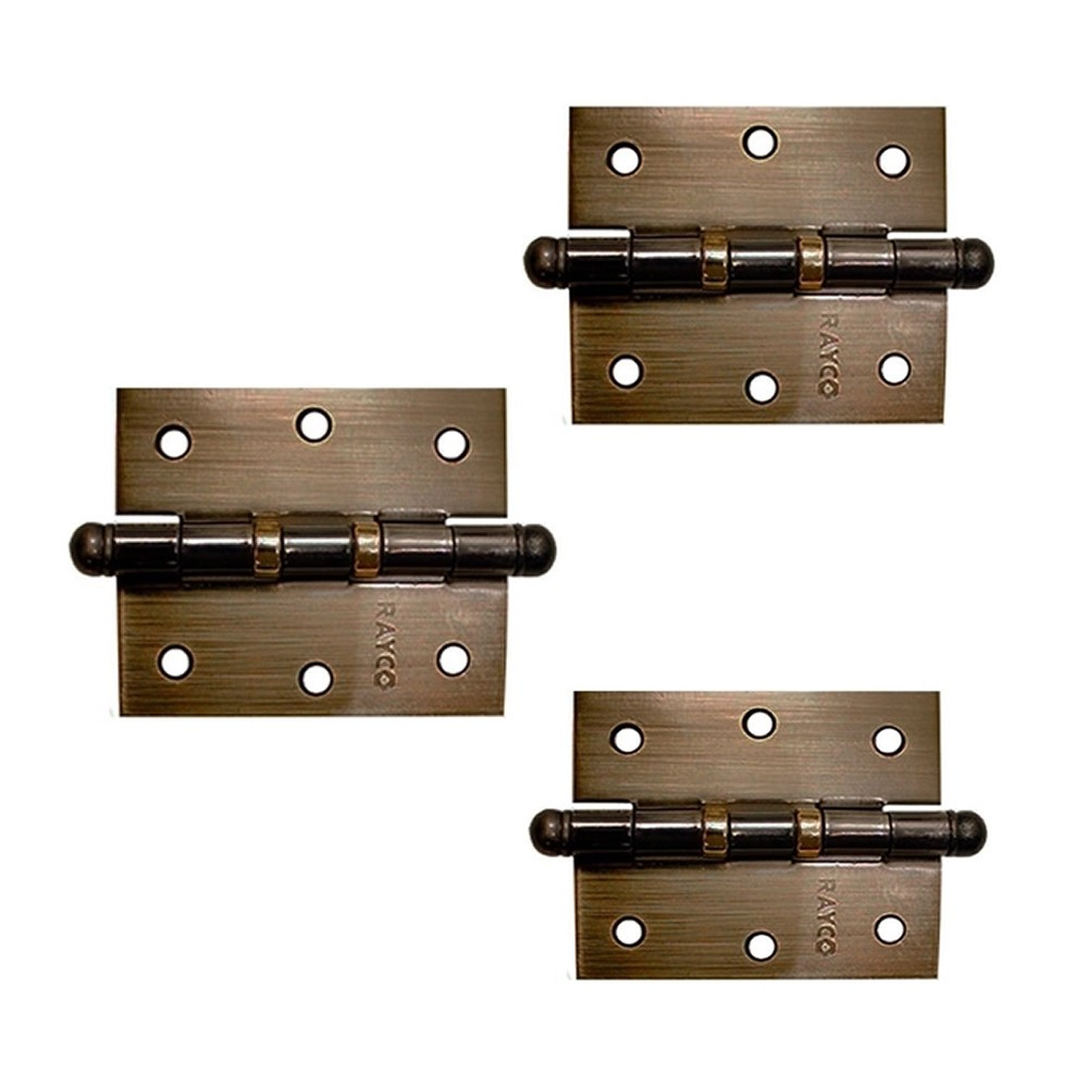 Dobradiça Oxidada para Porta c/ Anel Jogo 3 Pçs 1,8MM Rayco
