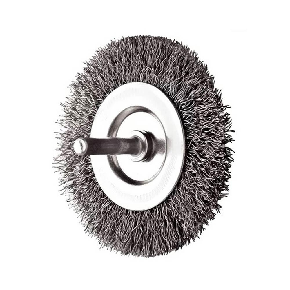 Escova Rotativa Circular Ondulada com Haste 75MM 14516 Rayco
