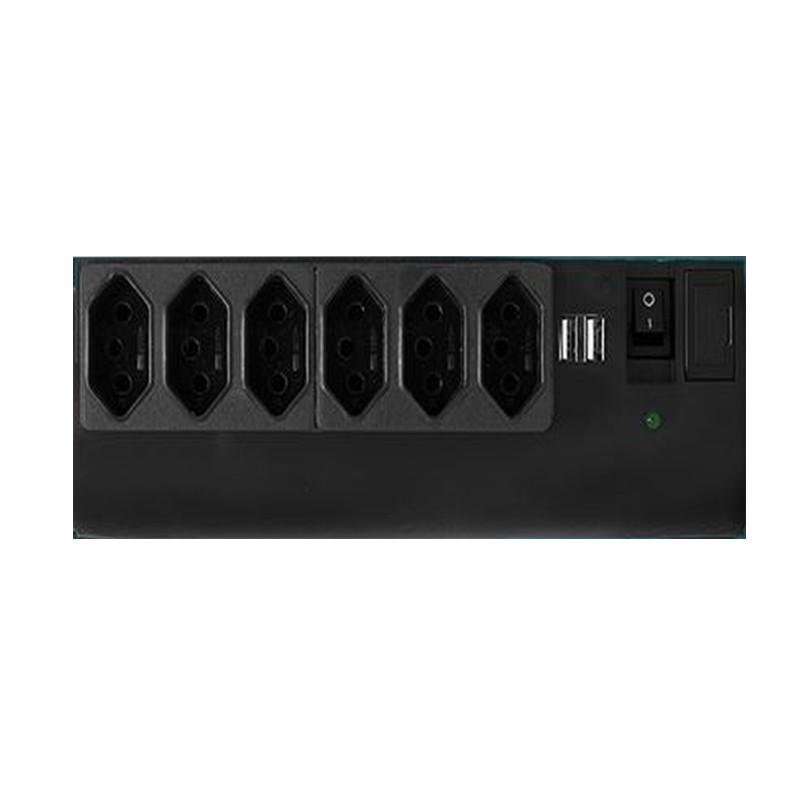 Filtro de Linha USB C/ Proteção 6Tom + 2USB Biv Preto 412 PW