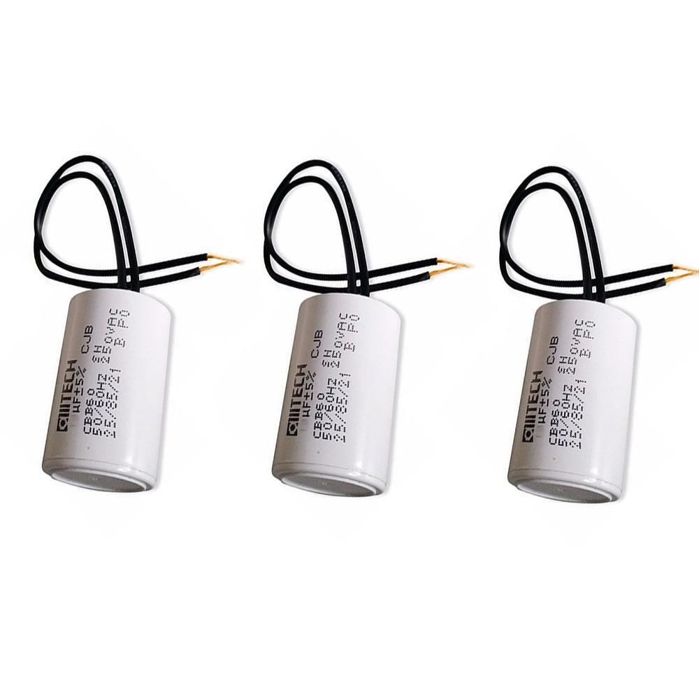 Kit 3 Capacitores 2Fios Metalizados p/Motor 45UF 250 VAC MVM