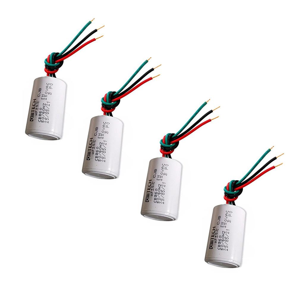 Kit 4 Capacitores 3Fios Metalizados 1.5UF + 2UF250 VAC MVM