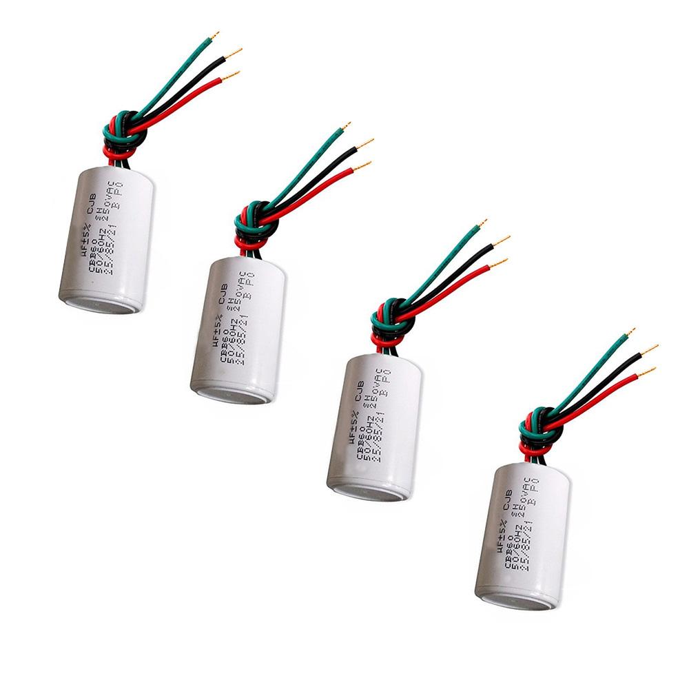 Kit 4 capacitores com 3 Fios Metalizados 4UF+6UF 250 VAC VMV
