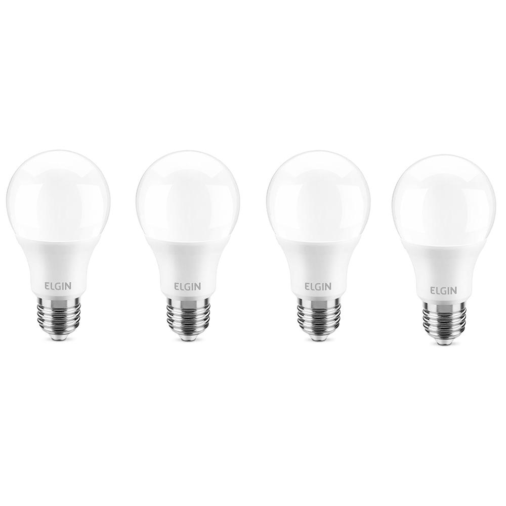 Kit 4 Lâmpadas de LED Bulbo 9W 12V Branca Fria A60 Elgin