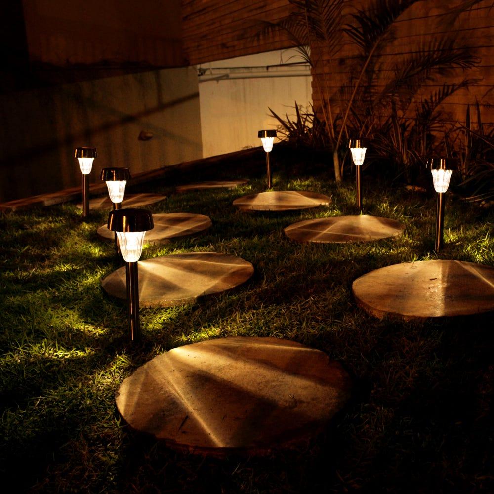 kit 4Pçs Luminária Solar Balizadora Jardim 10Lumens Ecoforce