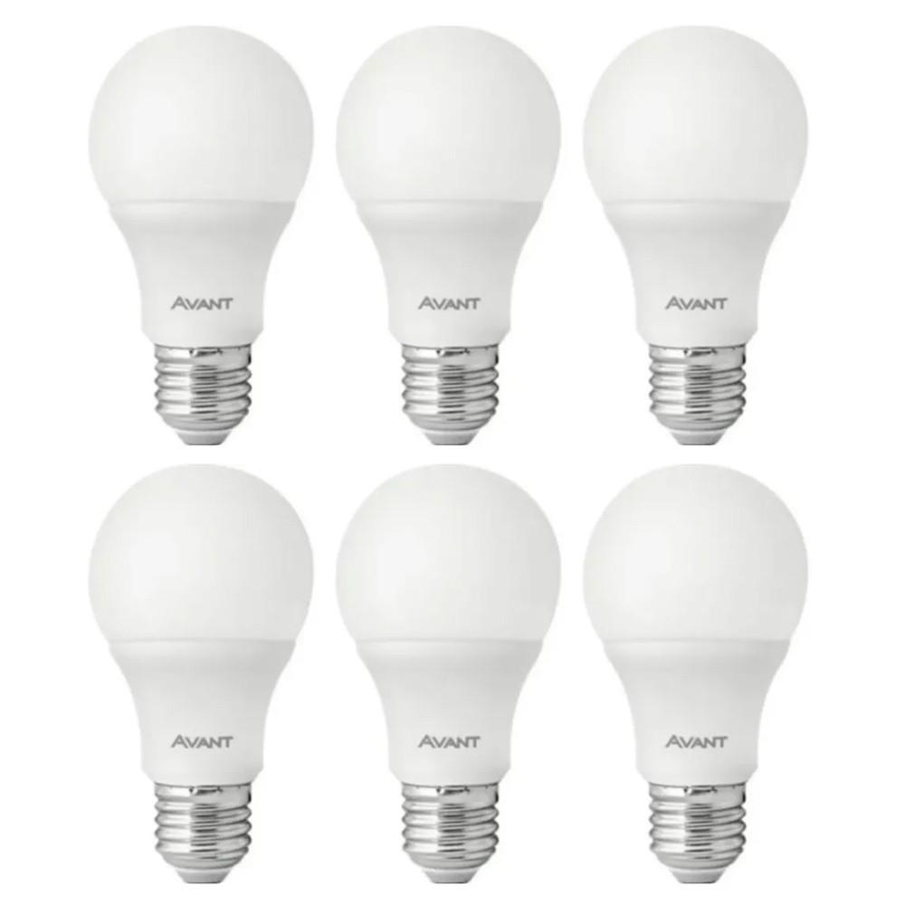 Kit 6 Lâmpadas LEDs Pera Bulbo Branco 9W 6500K Bivolt Avant