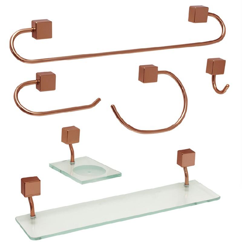 Kit Acessórios Class Rose Gold Quadrado 6 Peças Steel Design