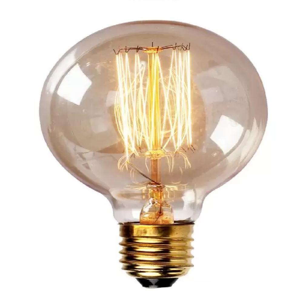 Lâmpada Filamento Carbono G125 40W 127V Luz Amarela E27.