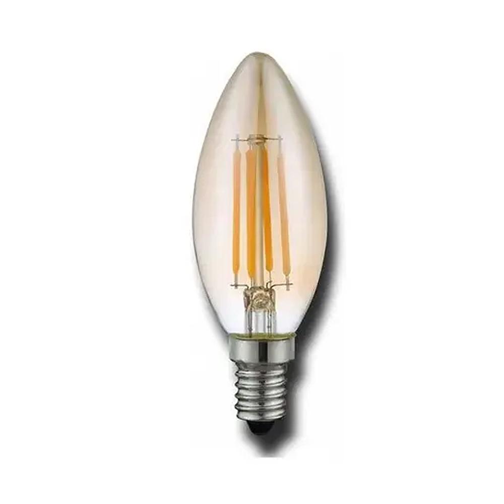 Lâmpada LED Filamento Âmbar Vela Balão E-27 4W 2200K Embuled