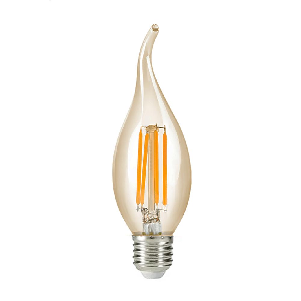 Lâmpada LED Filamento Âmbar Vela Chama E-27 4W 2200K Embuled