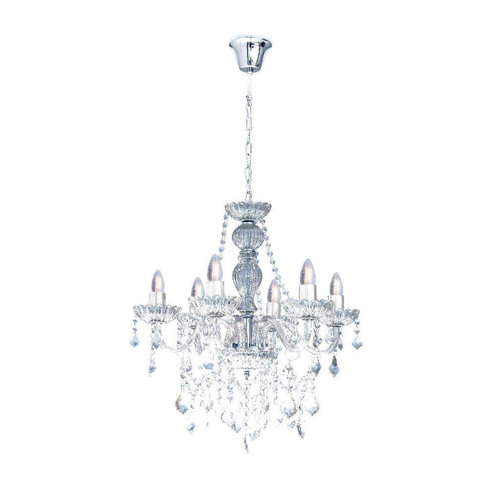 Lustre Candelabro de Cristal 6 Braços Transparente Nice Startec
