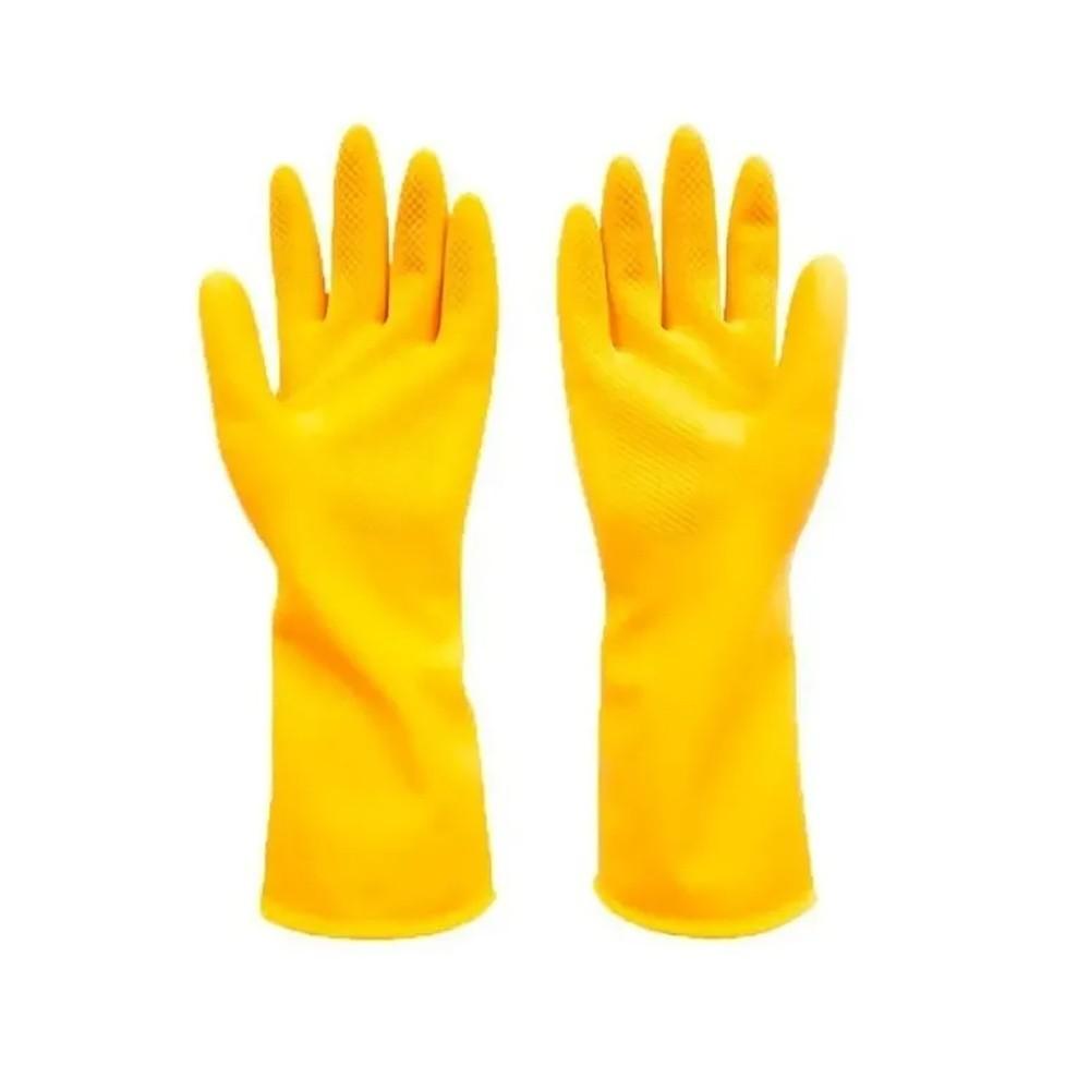 Luva Multiuso Amarela em Látex para Proteção e Limpeza Volk