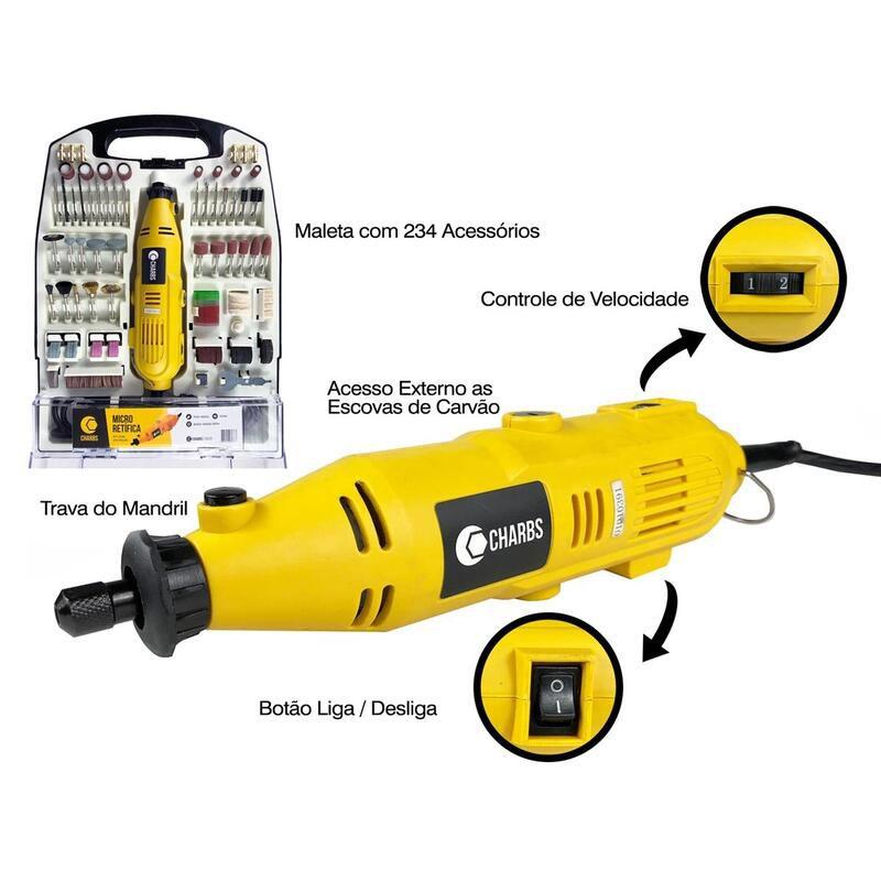 Micro Retífica com 234 Acessórios e Maleta CH2904-X Charbs