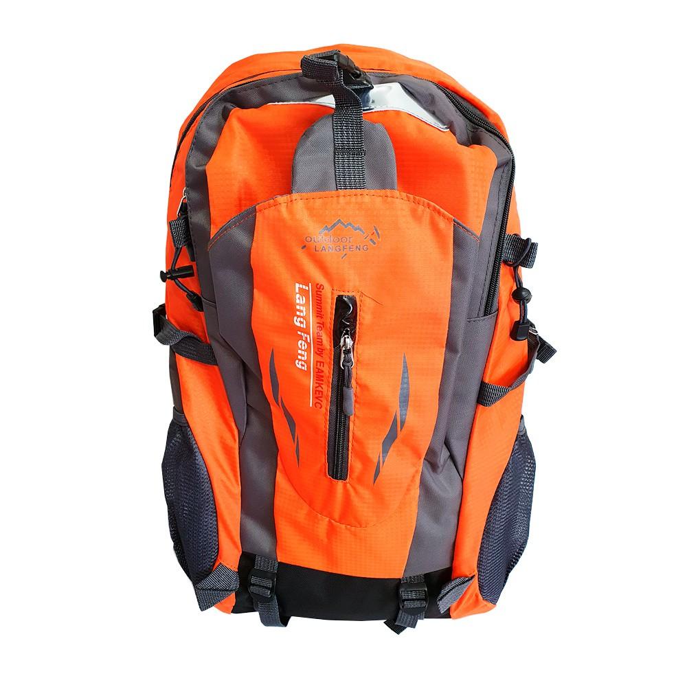 Mochila Nylon 35L Impermeável Hiking Laranja e Cinza Charbs