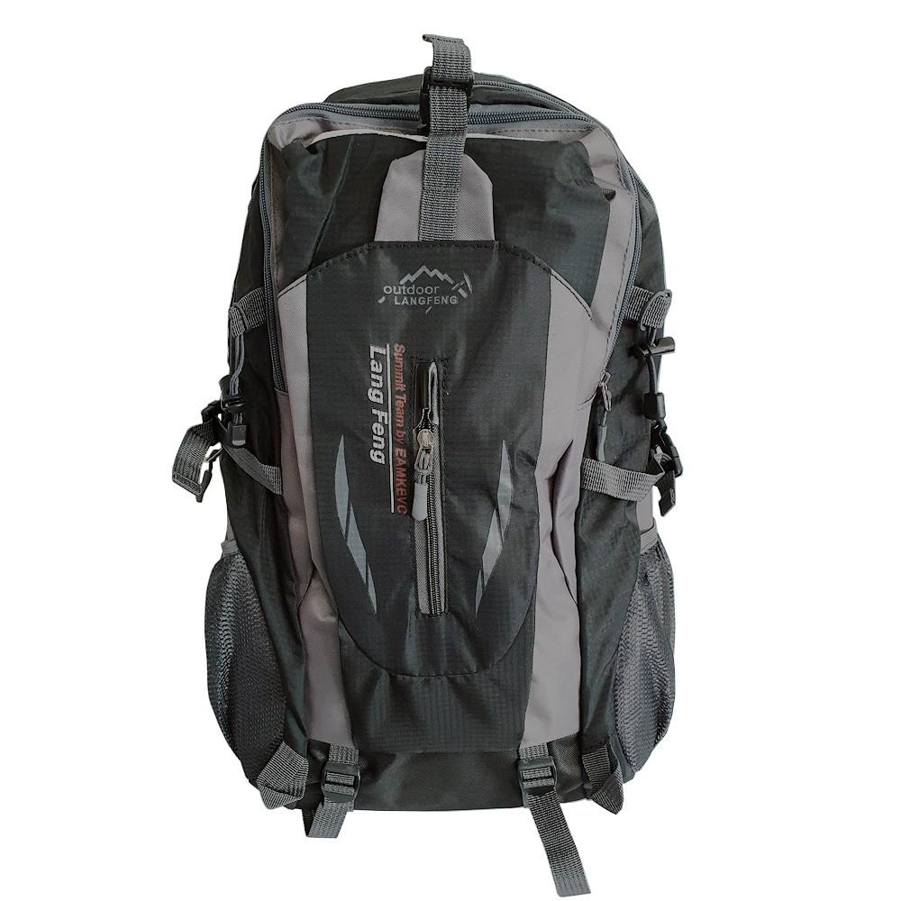 Mochila Nylon 35L Impermeável Hiking Preta e Cinza Charbs