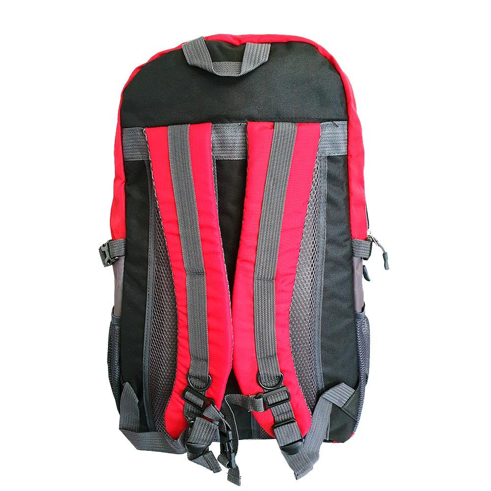 Mochila Nylon 35L Impermeável Hiking Vermelha e Cinza Charbs