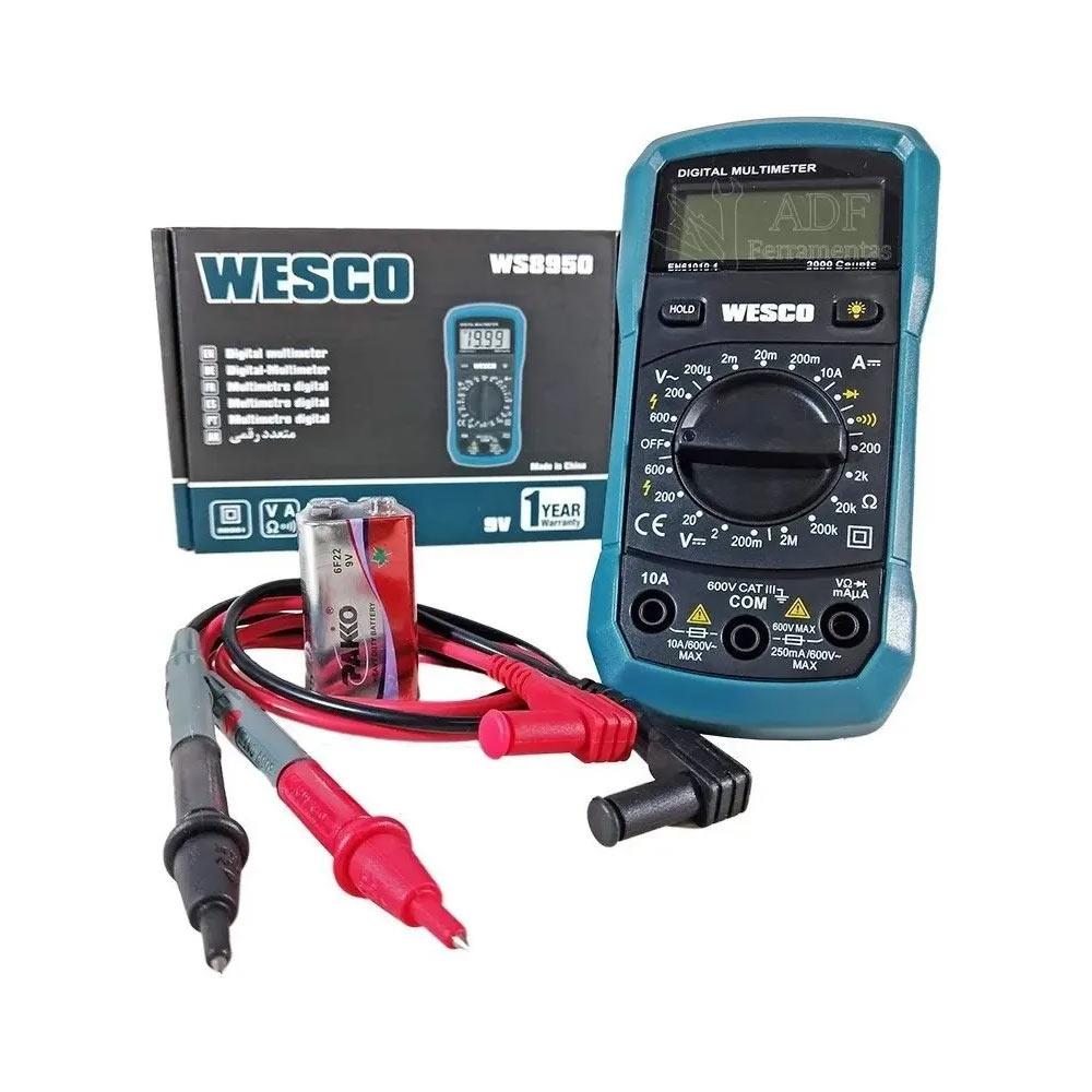 Multímetro Profissional Digital Portátil 9V WS8950 Wesco